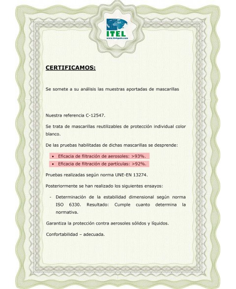 CERTIFICADO MASCARILLAS